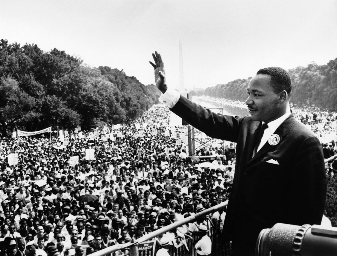 King gives a speech at the March on Washington D.C, 1963