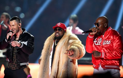 Adam Levine and Big Boi performing at Super Bowl LIII halftime show