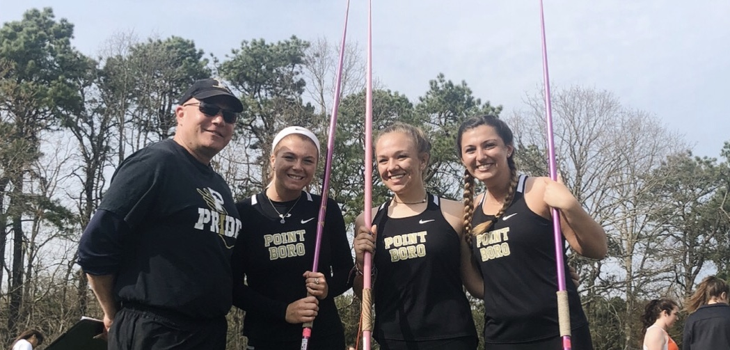 From left to right: Coach Kaufman, Carlie Vetrini, Laura Ormsby, and Erin Guilfoyle