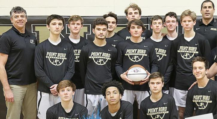 The boys basketball team lead by Coach Hynes.  Photo courtesy of Shore Sports Network.