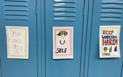 Drawings from the elementary school students were hung up on the lockers at PPBHS.