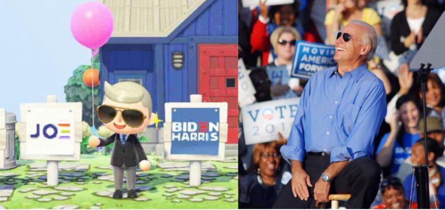 Biden's avatar wearing his signature aviators in Animal Crossing New Horizon's