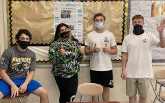 Senior staff members Chandler J., Natalya B., Nicholas T., and Zachary M. (not pictured, Rachel S.)
